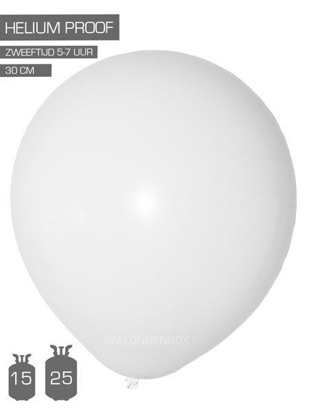 witte ballonnen met info