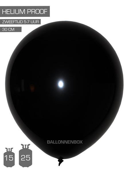 zwarte ballonnen met info