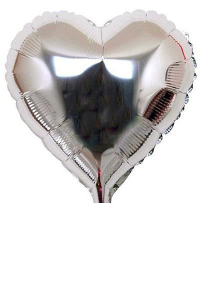 zilveren hart folie ballon