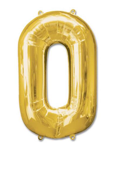 cijfer 0 ballonnen goud