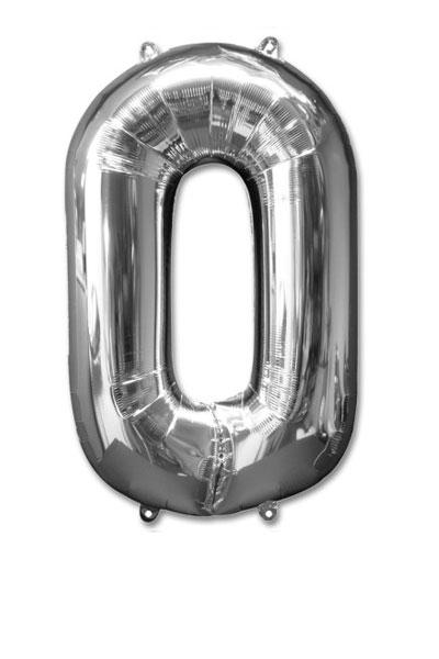 cijfer 0 ballonnen zilver