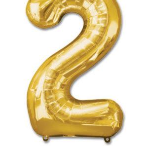 cijfer 2 ballonnen goud