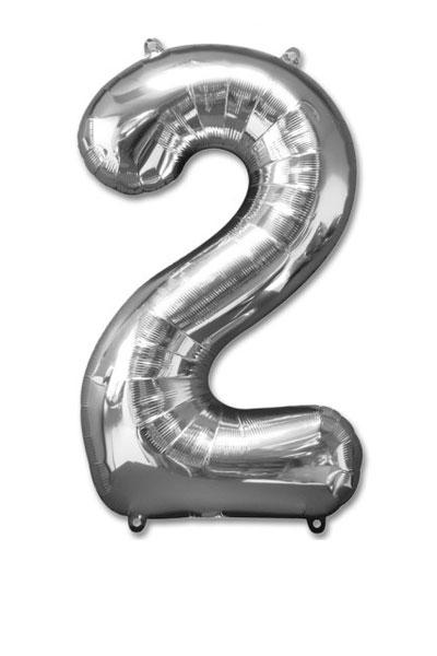 cijfer 2 ballonnen zilver