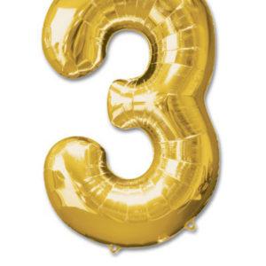 cijfer 3 ballonnen goud