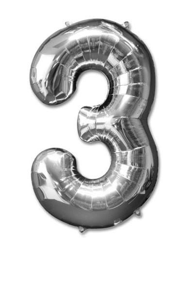 cijfer 3 ballonnen zilver