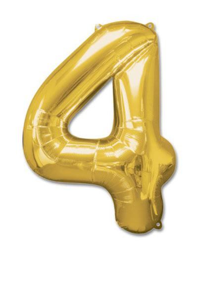 cijfer 4 ballonnen goud