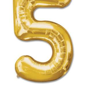 cijfer 5 ballonnen goud