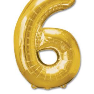 cijfer 6 ballonnen goud