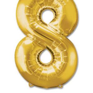cijfer 8 ballonnen goud