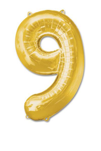 cijfer 9 ballonnen goud