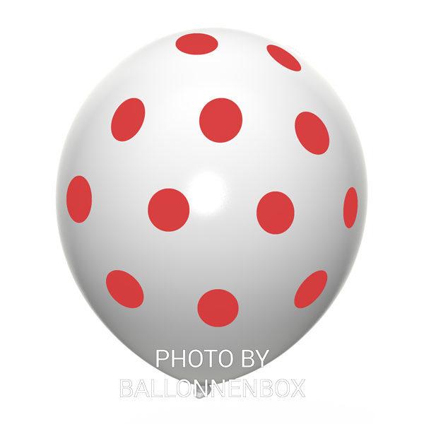 witte ballonnen met rode stippen