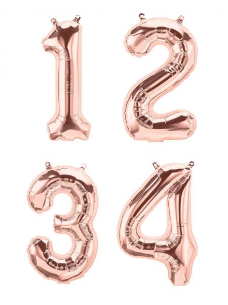 cijfer ballonenn rosé goud