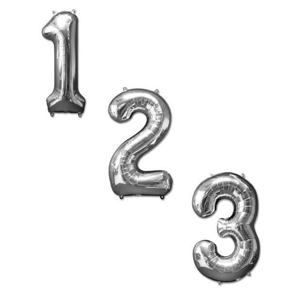 cijfer ballonnen zilver 100cm