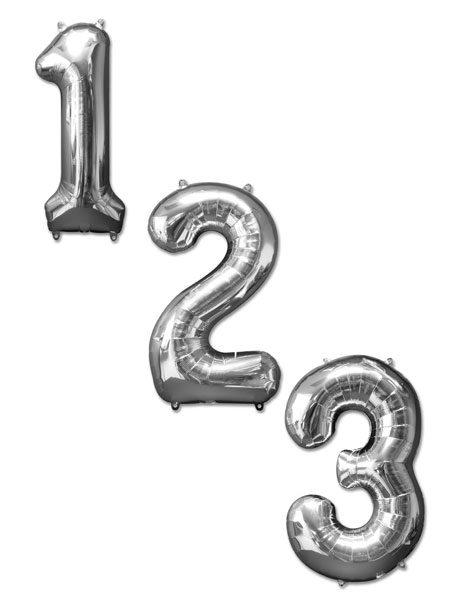 Cijfer ballonnen zilver 100 centimeter