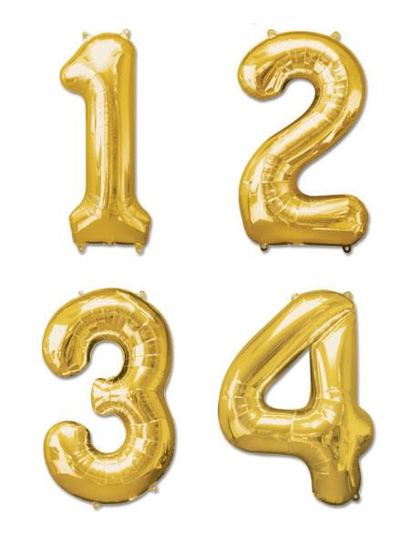Cijfer ballonnen goud 36 centimeter