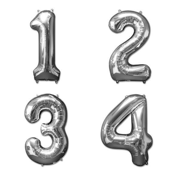 cijfer ballonnen zilver 36cm
