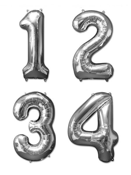 Cijfer ballonnen zilver 36 centimeter