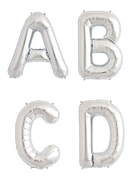 Letter ballonnen zilver 36 centimeter