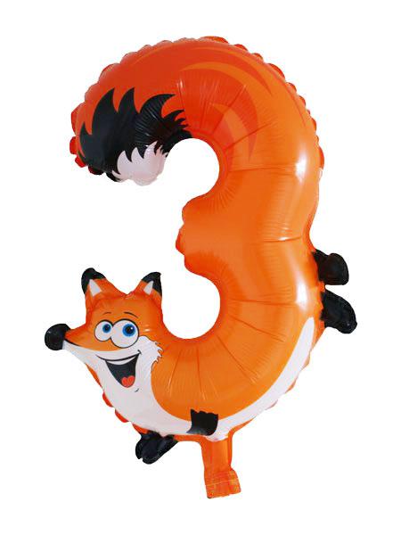 cijfer ballonnen dieren cijfer 3