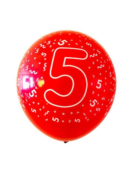 ballonnen met bedrukking van een 5