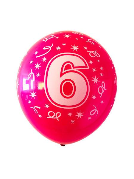 ballonnen met opdruk van een 6