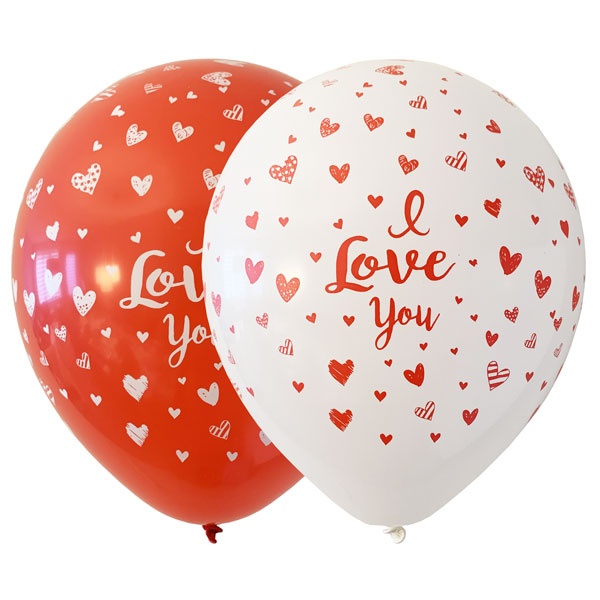 i love you ballonnen in rood en wit