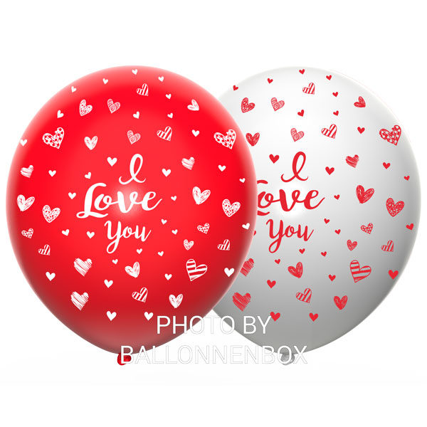 love you ballonnen rood wit