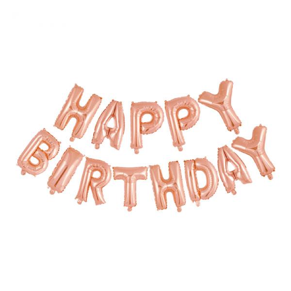 happy birthday ballonslinger rose goud