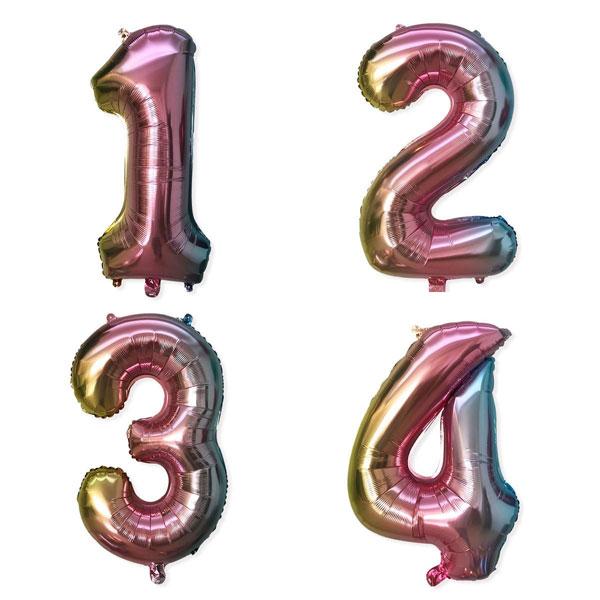 Cijfer ballonnen in ombre kleur
