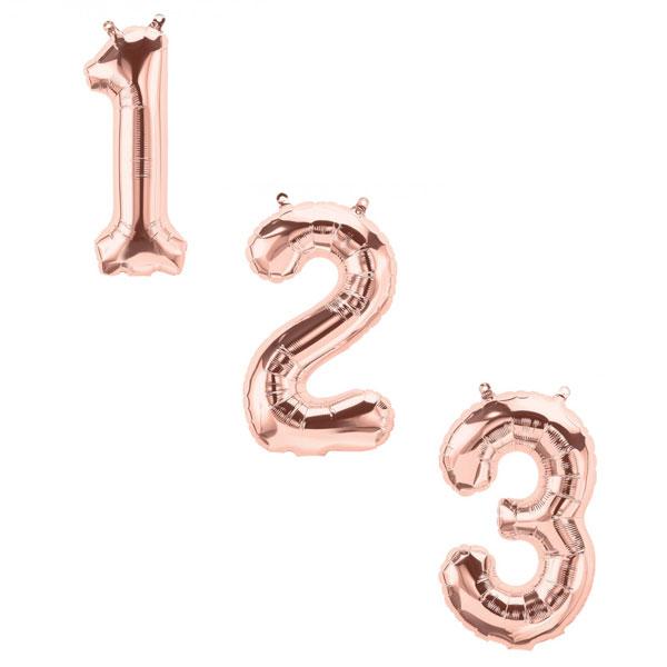 Cijfer ballonnen rose goud