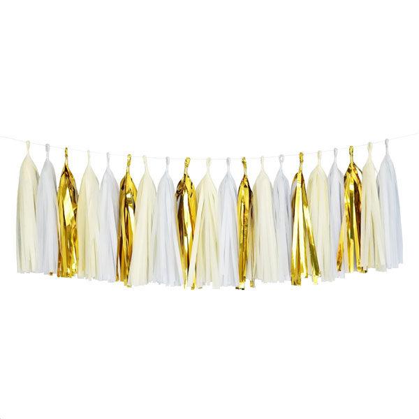 tassel slinger wit goud