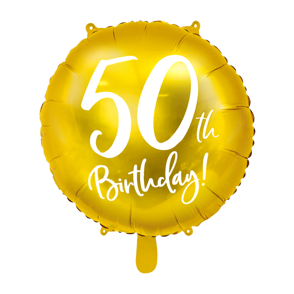 folieballon 50th birthday goud