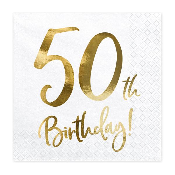 servetten 50th birthday goud