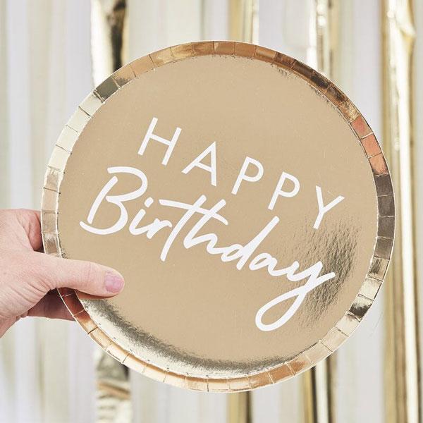 bordjes happy birthday goud