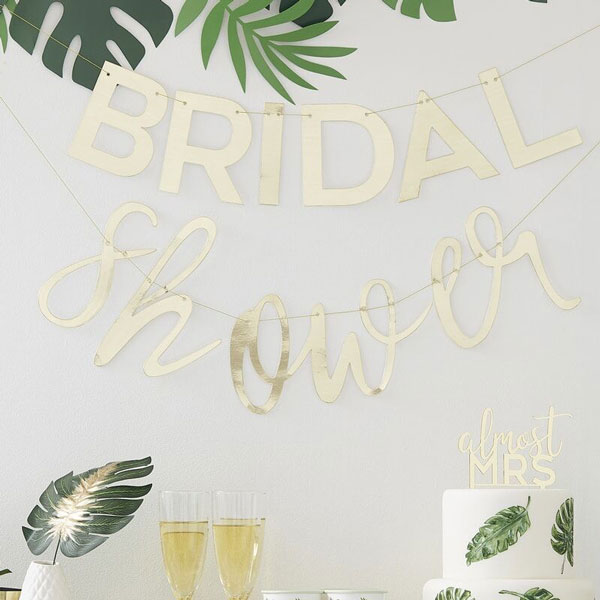 bridal shower slinger goud