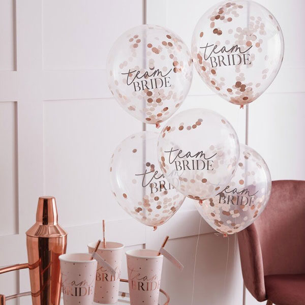 confetti ballonnen team bride blush hen party