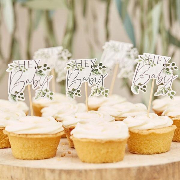 cupcake toppers botanical babyshower