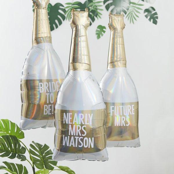 folieballon champagnefles met stickers