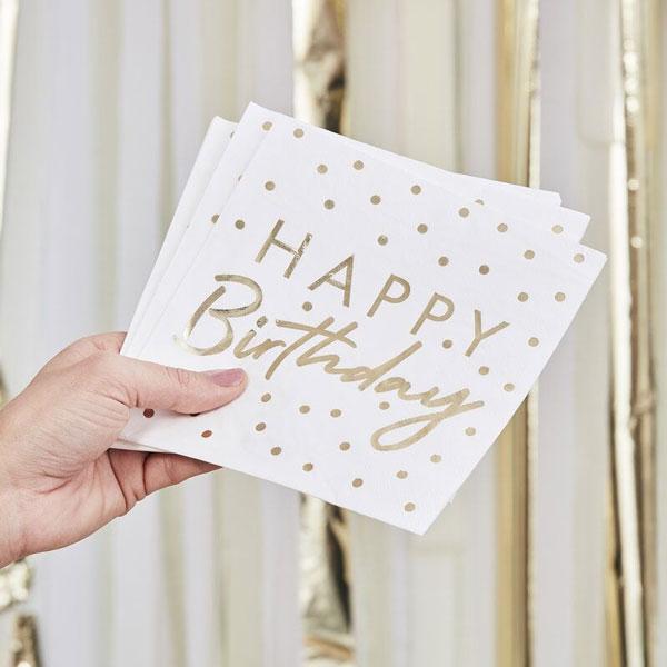 servetten happy birthday goud