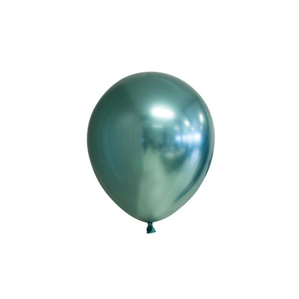 chrome groene ballonnen 13cm