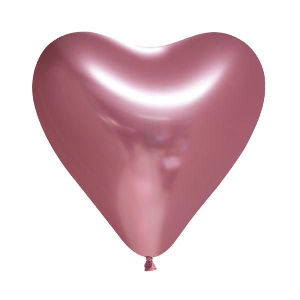 chrome mauve hartjes ballonnen