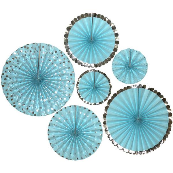 papieren waaiers lichtblauw zilver