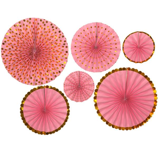papieren waaiers roze goud