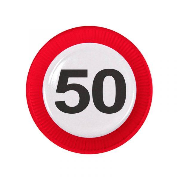 borden 50 jaar verkeersbord 23cm 8 stuks