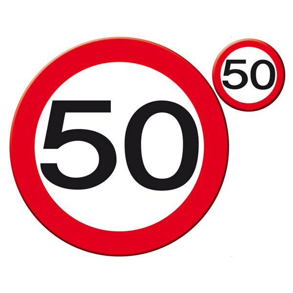 placemat en onderzetter set 50 jaar verkeersbord